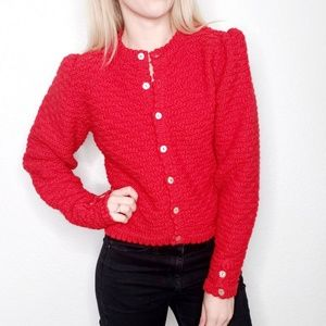 Vintage Chunky Red Wool Retro Knit Cardigan